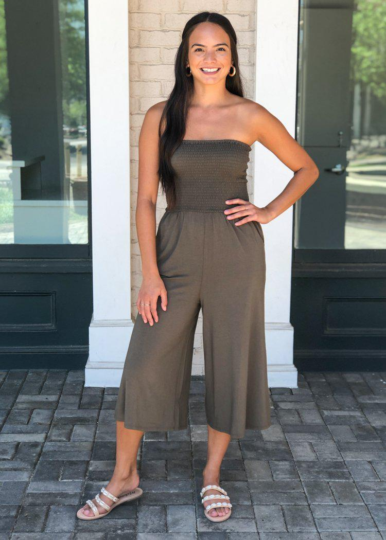 Bobi Wide Leg Strapless Smocked Jumpsuit - Brigade-Hand In Pocket