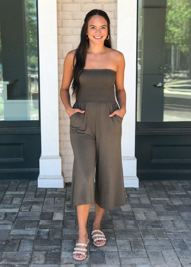Bobi Wide Leg Strapless Smocked Jumpsuit - Brigade-***FINAL SALE***-Hand In Pocket