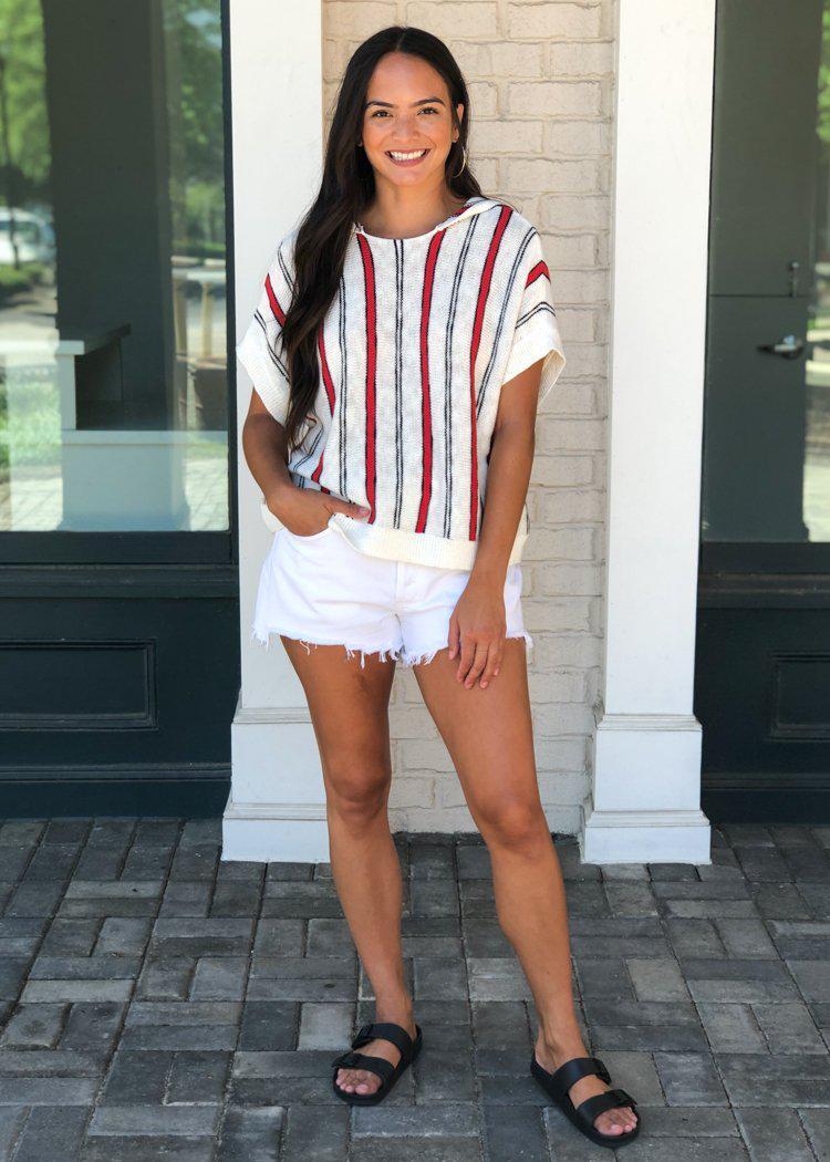 Dakota Chill to Happen Red, Cream and Black Stripe Sweater ***FINAL SALE***-Hand In Pocket
