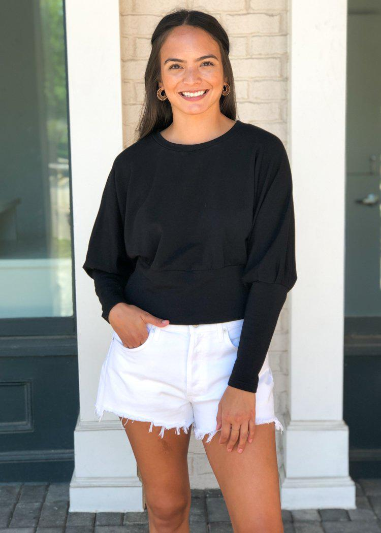 BB Dakota Black Sleeve Me Be Cropped Sweatshirt-***FINAL SALE***-Hand In Pocket