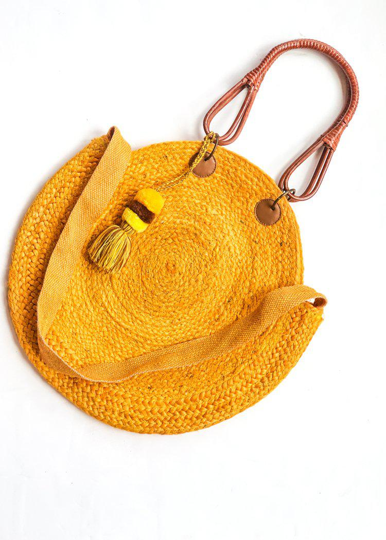 Canaria Jute Circular Bag with Wooden Handles -***FINAL SALE***-Hand In Pocket