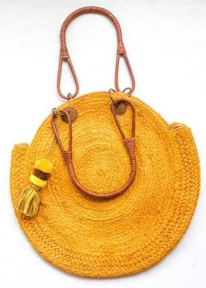 Canaria Jute Circular Bag with Wooden Handles - Yellow-Hand In Pocket