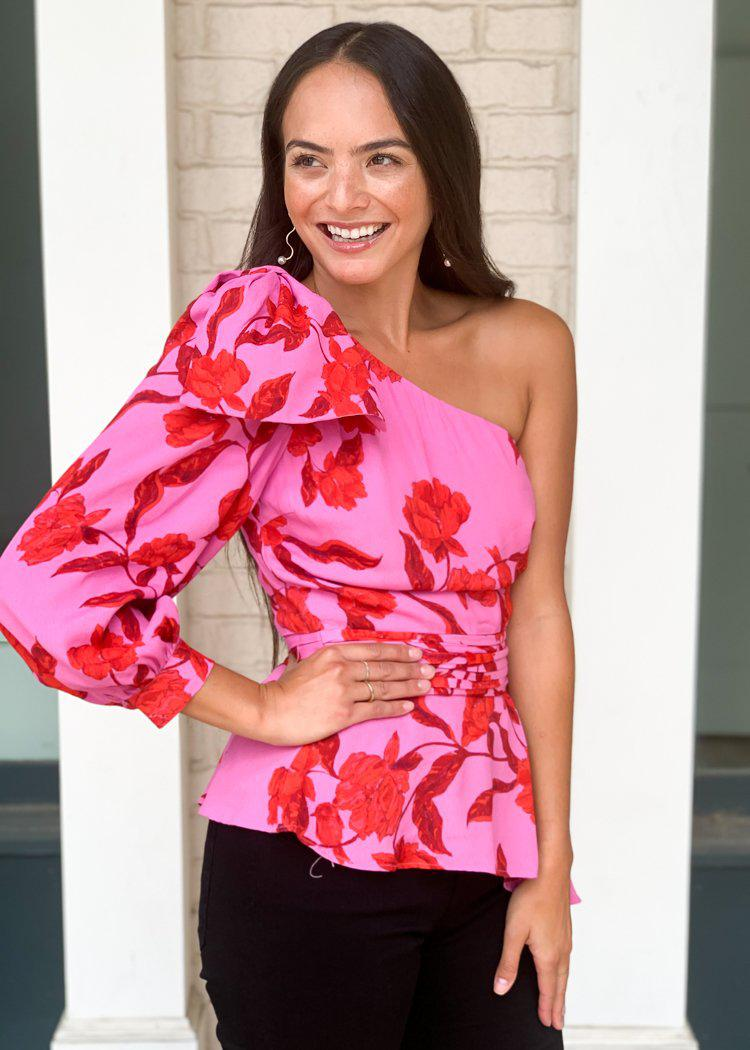Karlie Hibiscus One Shoulder Blouse ***FINAL SALE***-Hand In Pocket