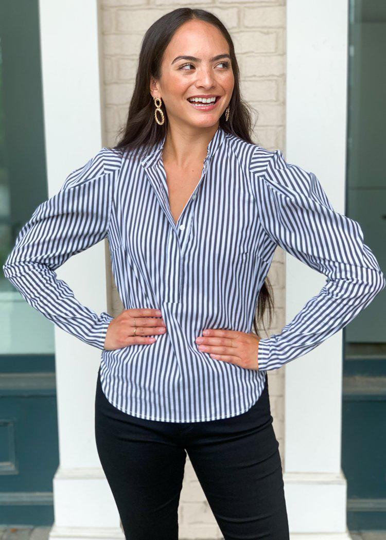 "Karlie ""On Board"" Striped Poplin Puff Sleeve Blouse-Hand In Pocket"