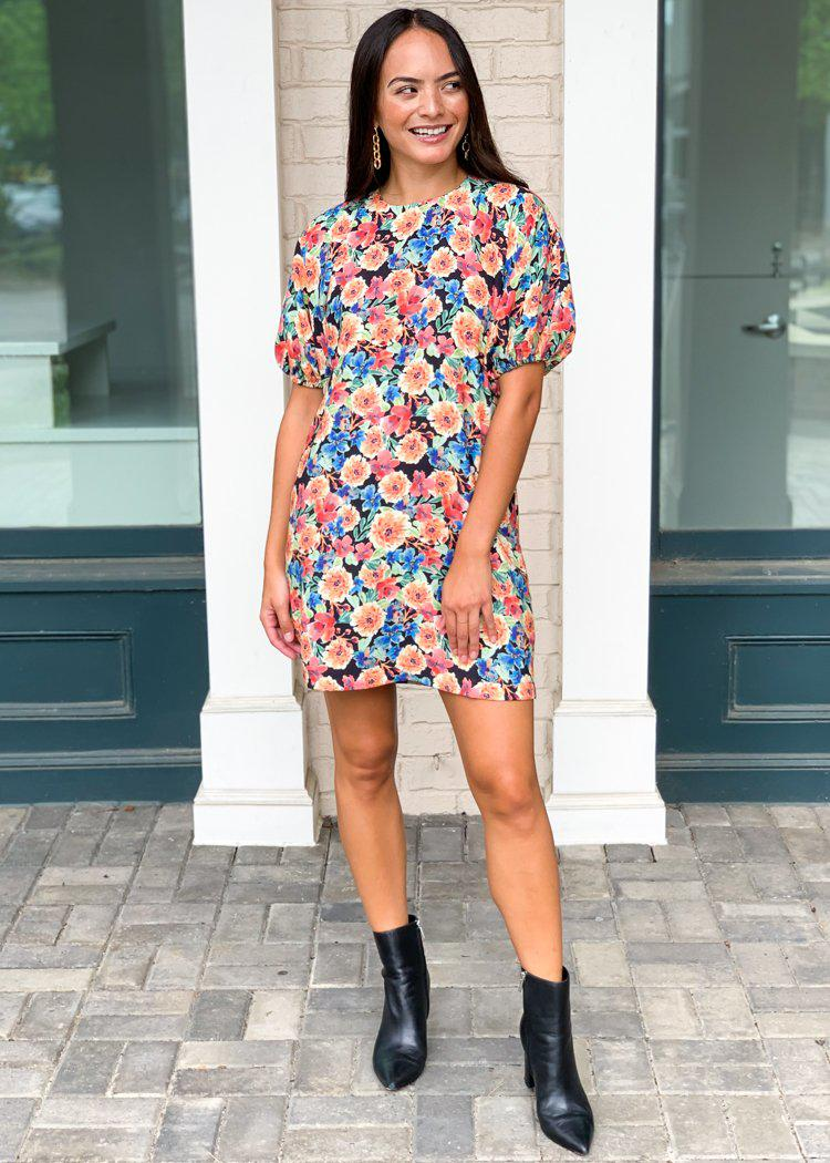 Karlie Poppy Floral Print Shift Dress-Hand In Pocket
