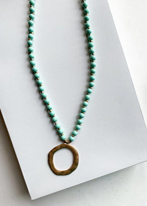 Snug Corner Long Beaded Mint Beaded Pendant-Hand In Pocket