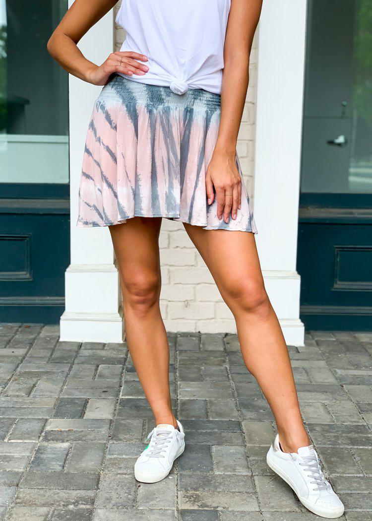 "Karlie ""Current"" Tie Dye Smocked Waist Skort-Hand In Pocket"