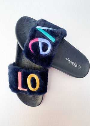 PJ Salvage Navy Fur Rainbow Love Slippers ***FINAL SALE***-Hand In Pocket