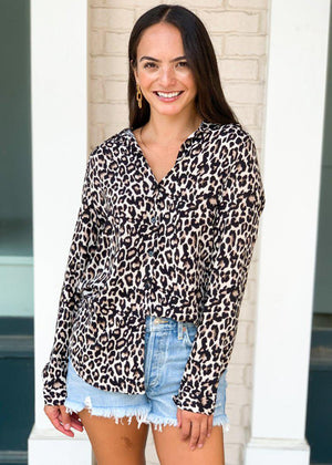 Tanzania Leopard Print Blouse-Hand In Pocket