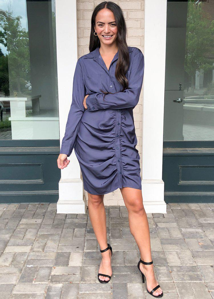 Cicely Long Sleeve Ruched Shirtdress-Slate Charcoal-Hand In Pocket