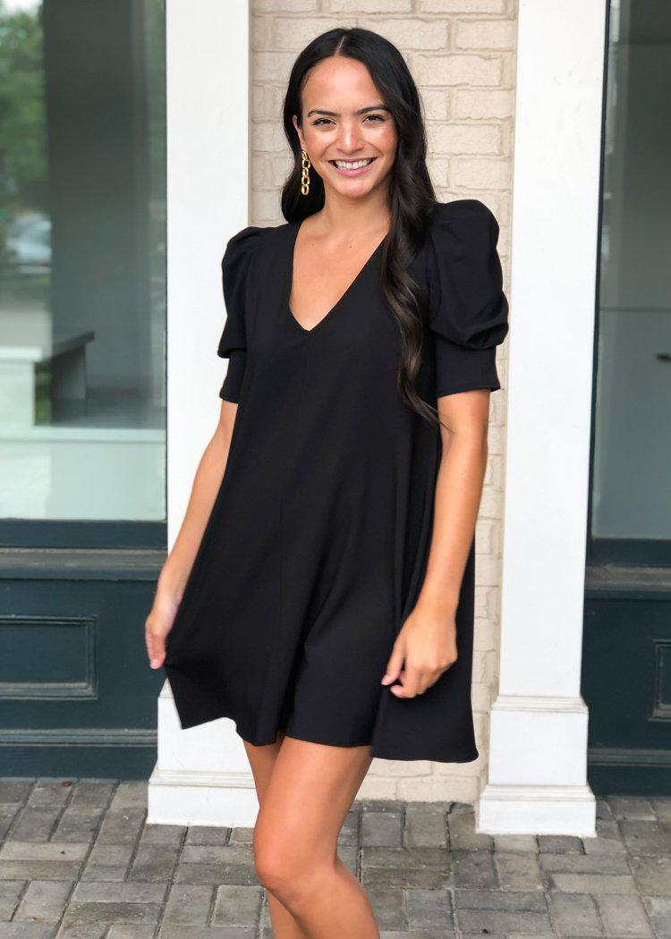 Karlie Ella Puff Sleeve V-neck Dress - Black-Hand In Pocket