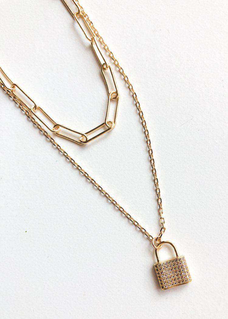 Farrah B Hitched 2 Layered Lock Necklace - Gold-Hand In Pocket