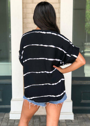 Blurred Lines Split V Neck Blouse-Black-Hand In Pocket