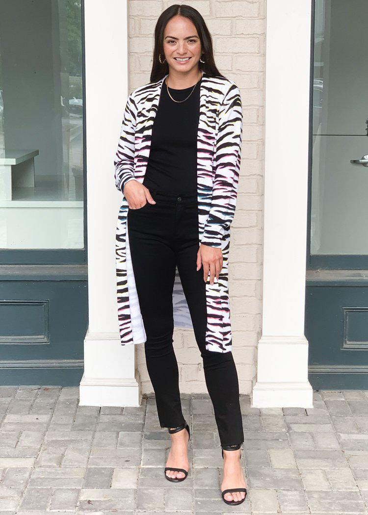 525 America Zebra Print Long Cardigan ***FINAL SALE***-Hand In Pocket