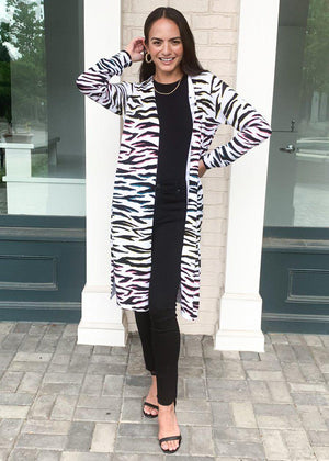 525 America Zebra Print Long Cardigan-Hand In Pocket