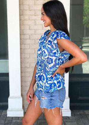 Rosario Floral Print Sheer Ruffle Sleeve Blouse - Blue-Hand In Pocket