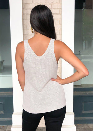 Brooks Sleeveless Scoop Neck Sweater Tank - Oatmeal-Hand In Pocket