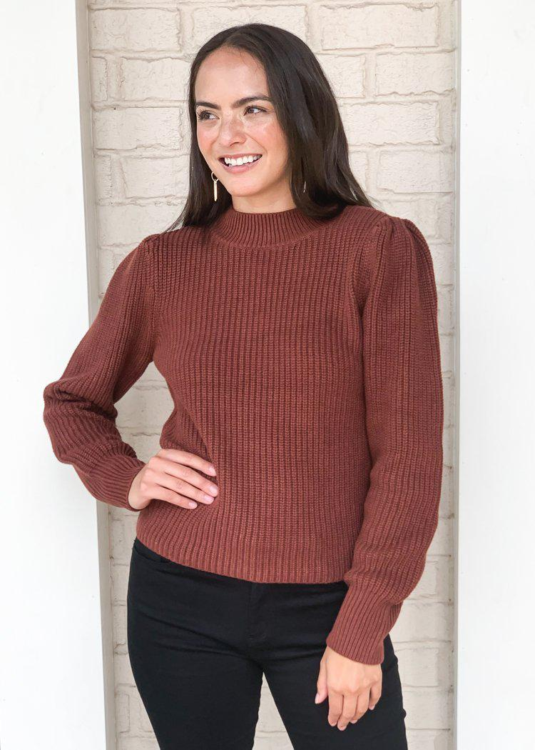 525 America Emma Puff Shoulder Sweater- Cinnamon-Hand In Pocket