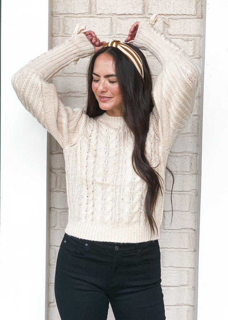 525 America Lace Up Sleeve Cable Knit Sweater-Oatmeal-Hand In Pocket