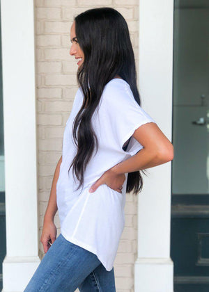 Bobi SS Sleeve Hi/Lo Ribbed Contrast Tee-White-Hand In Pocket