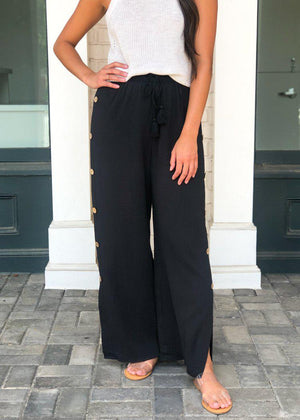 Coronada Crinkle Gauze Button Detail Pant ***FINAL SALE***-Hand In Pocket