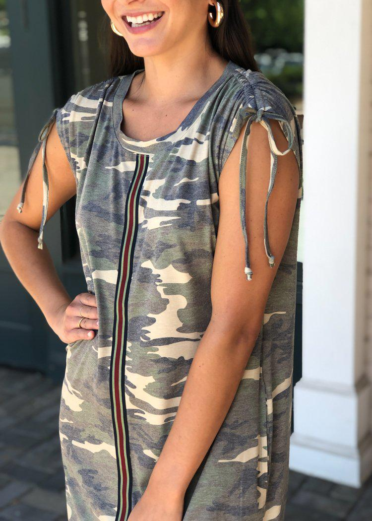 Everyday Gear Camo Print T Shirt Dress-Camo-Hand In Pocket