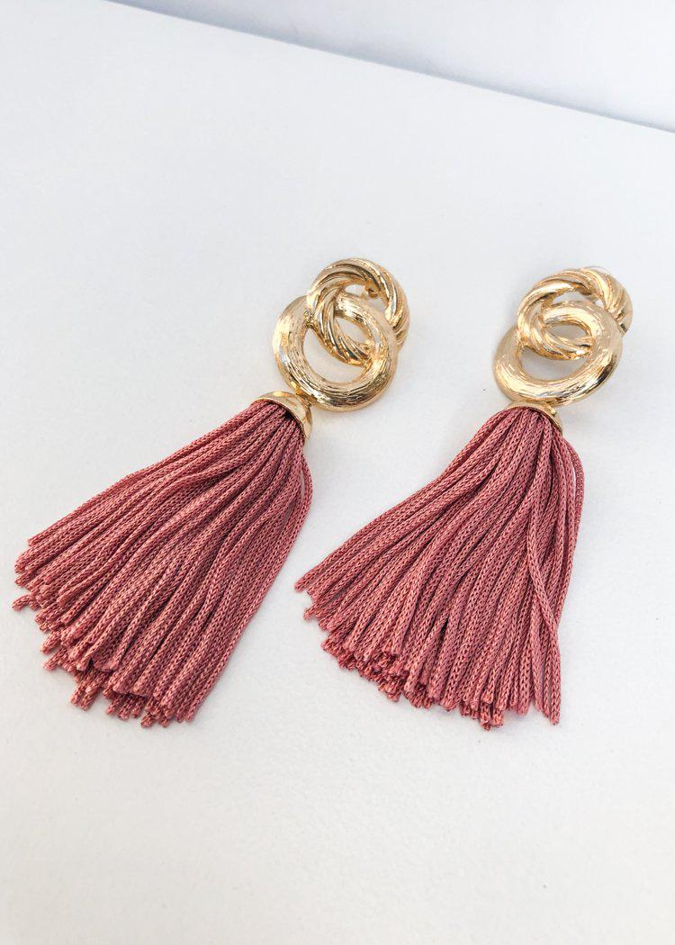 Morningside Metallic Link Tassel Statement Earring - Blush-Hand In Pocket