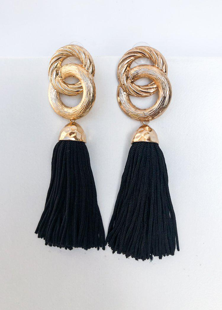 Morningside Metallic Link Tassel Statement Earring - Black-Hand In Pocket