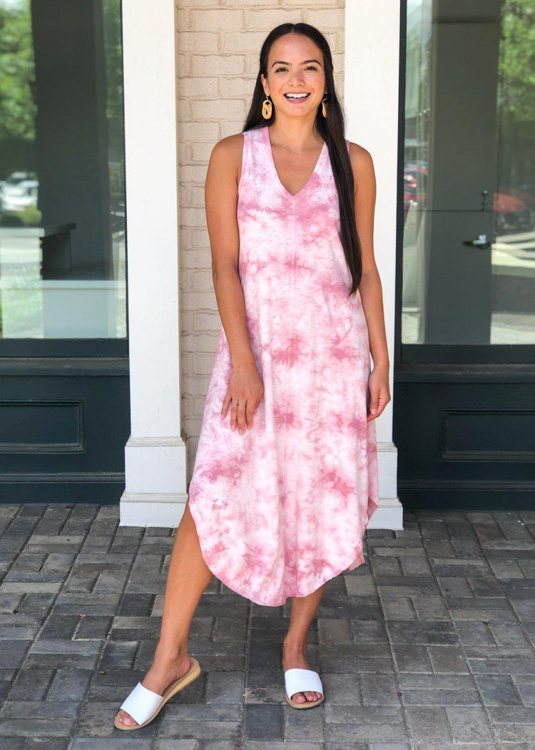 Z Supply Reverie Midi Dress - Zephyr Pink Tie Dye-Hand In Pocket