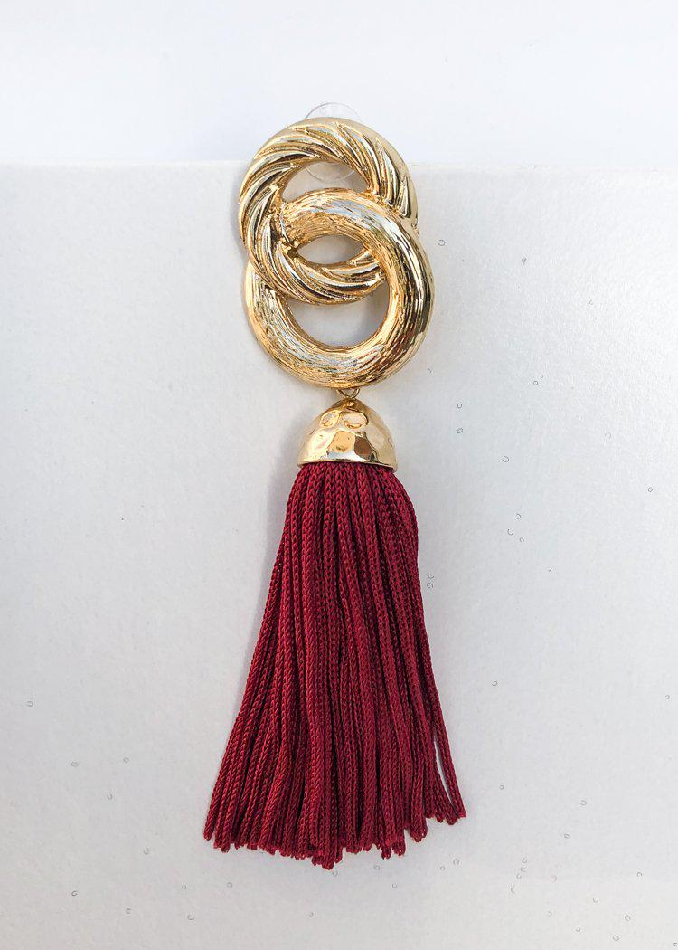 Morningside Metallic Link Tassel Statement Earring - Burgandy-Hand In Pocket