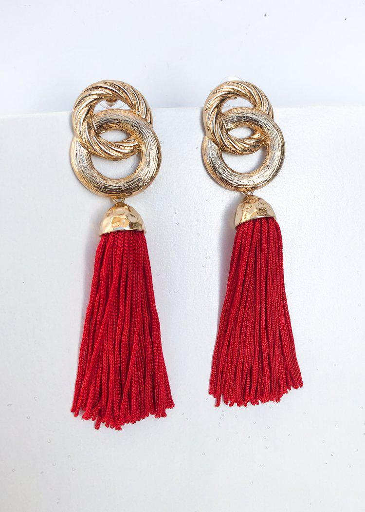 Morningside Metallic Link Tassel Statement Earring - Red-Hand In Pocket
