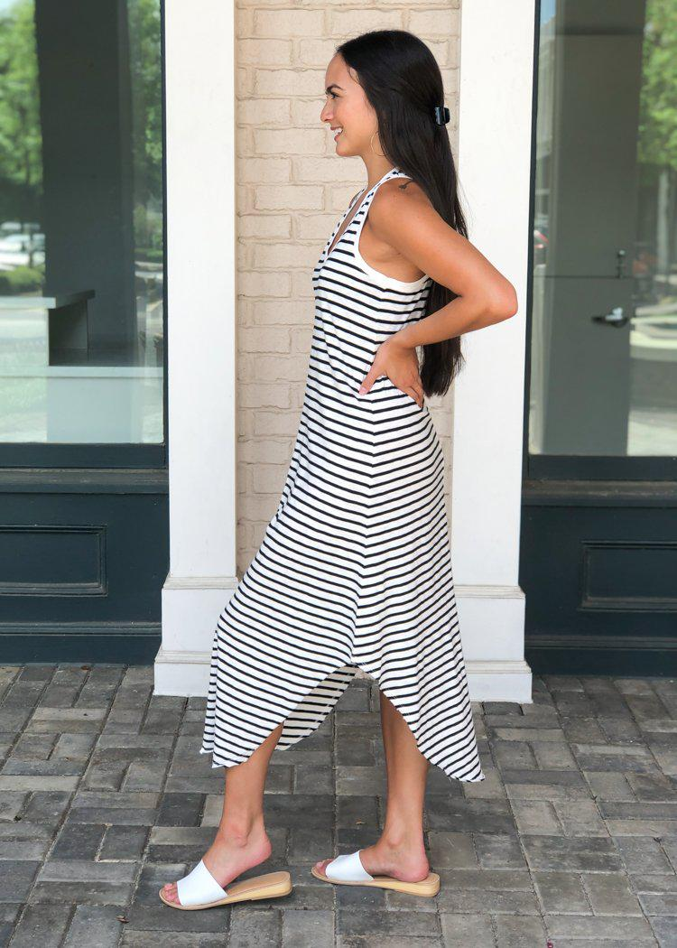 Z Supply Reverie Striped Midi Dress - Black/White-Hand In Pocket