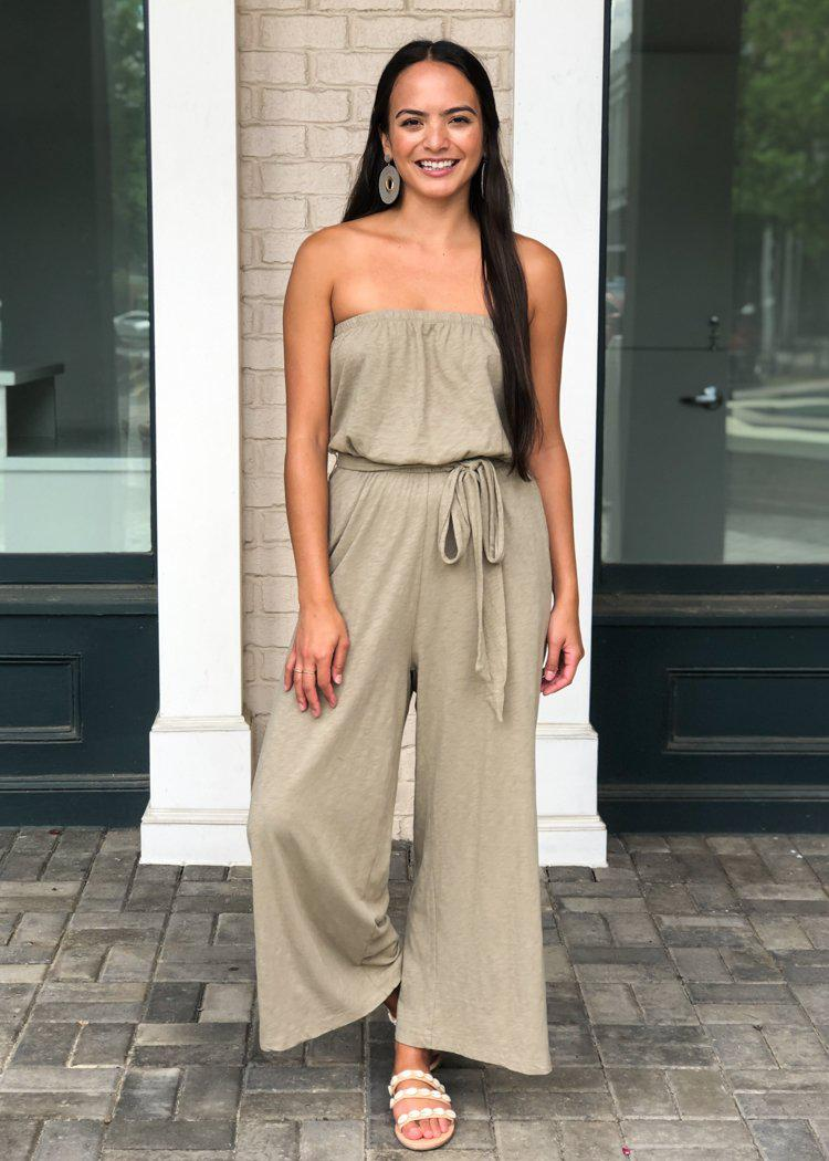 Z Supply Isla Bandeau Jumpsuit- Silver Sage-Hand In Pocket