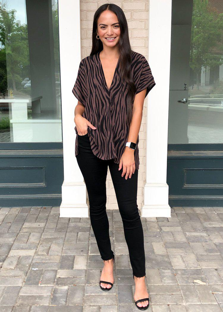 Karlie Moremi Zebra Print Essential Blouse-Hand In Pocket