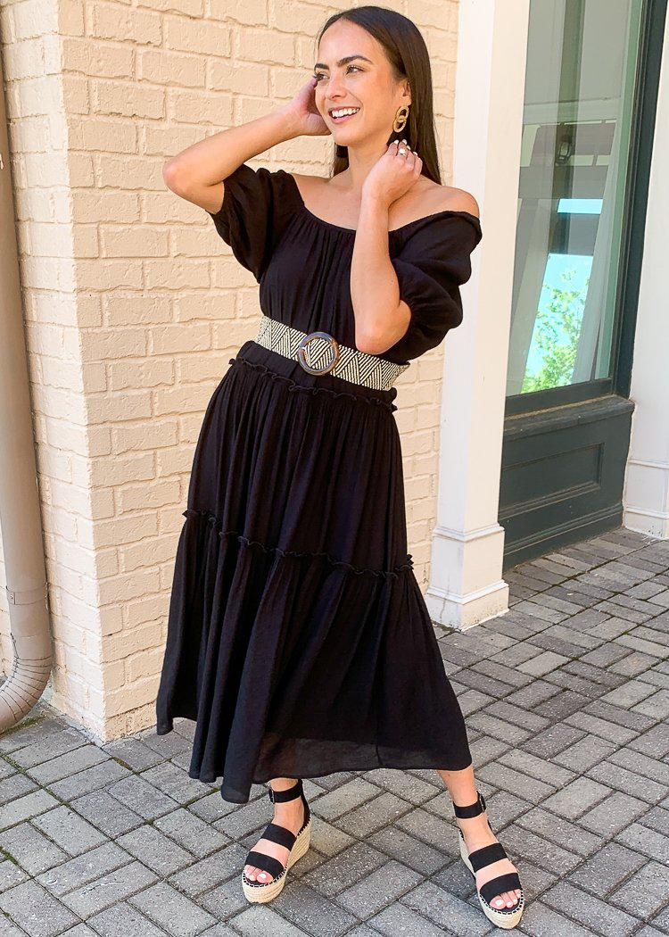 Maddox Convertible Tiered Off Shoulder Maxi-Hand In Pocket
