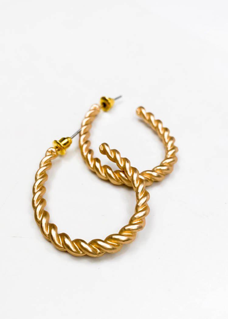 Gold Twisted Teardrop Hoop Earrings-Hand In Pocket