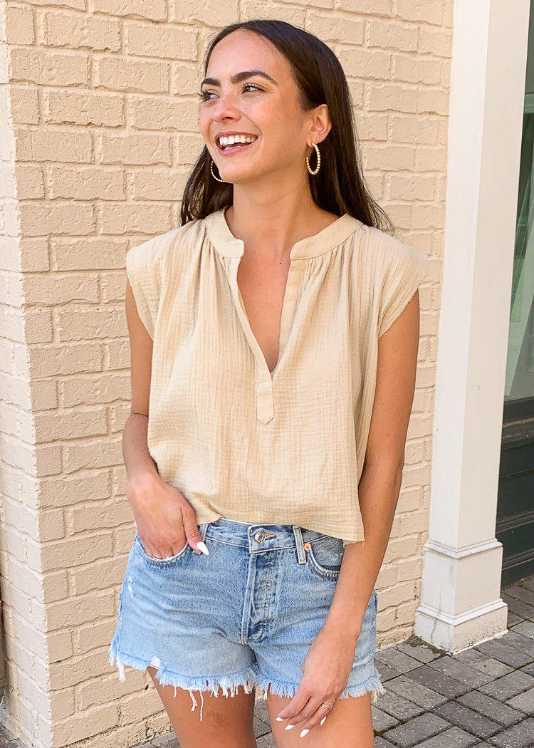 Karlie Marsa Split V Neck Gauze Top- Tan-Hand In Pocket