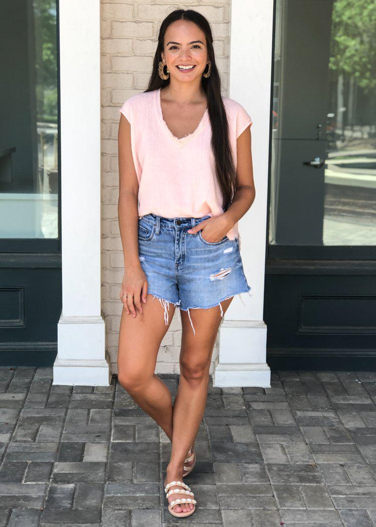 Karlie Amelia Gauzy V-neck Top - Blush ***FINAL SALE***-Hand In Pocket
