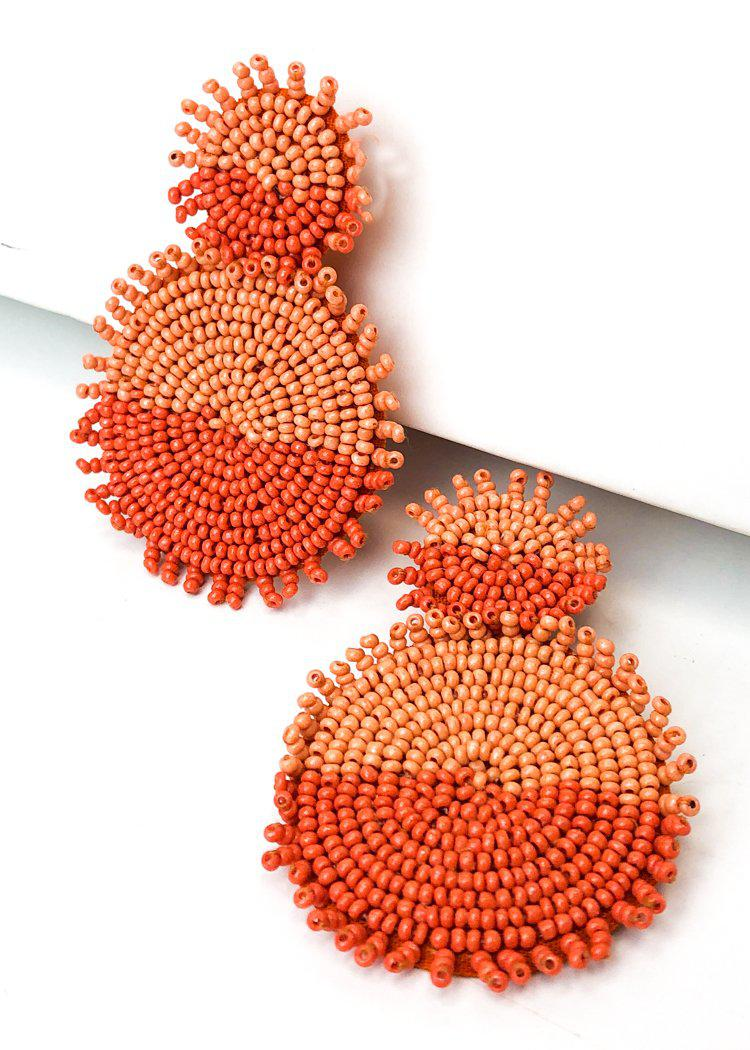 Nizuc Beaded Dual Color Drop Earring - Orange-Hand In Pocket