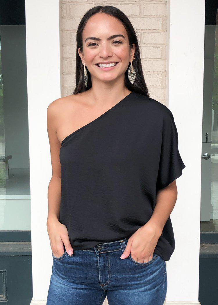 Teagan One Shoulder Blouse - Black-Hand In Pocket