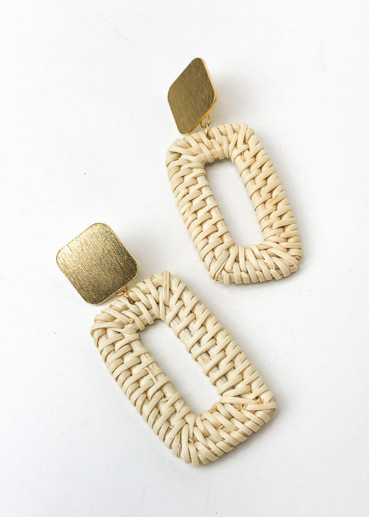 Las Brisas Woven and Metal Drop Earring - Natural-Hand In Pocket