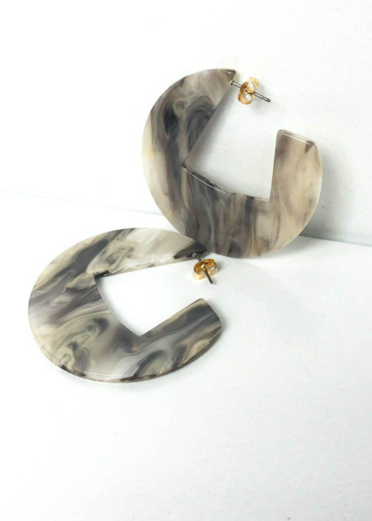 Merida Modern Marble Acrylic Hoops - Grey-Hand In Pocket