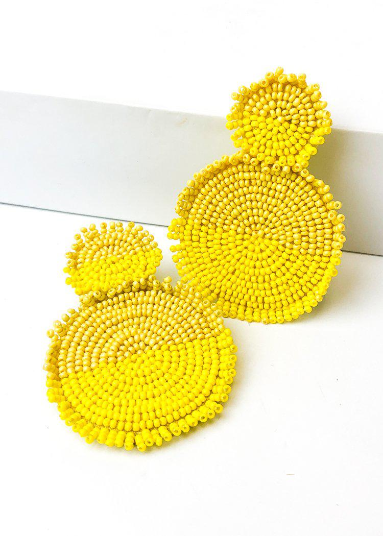 Nizuc Beaded Dual Color Drop Earring - Yellow-Hand In Pocket