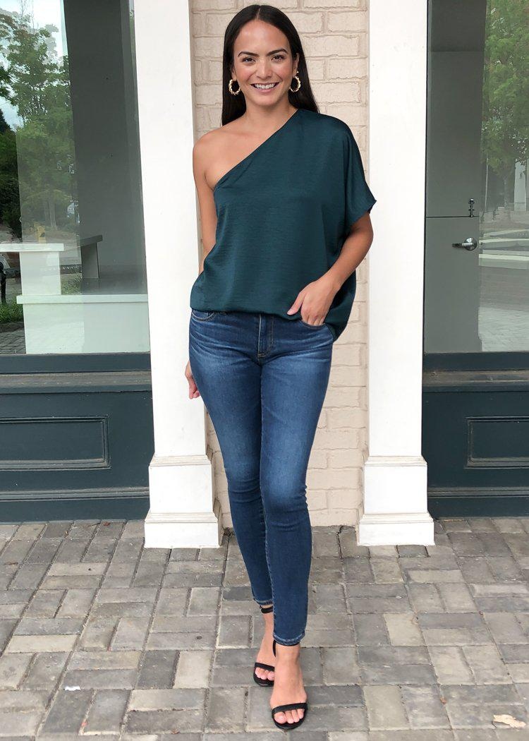 Teagan One Shoulder Blouse - Hunter Green-Hand In Pocket