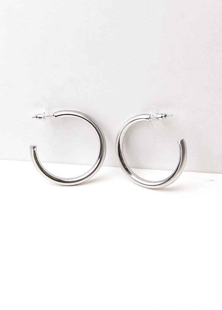 Hoop la 40mm Brushed Hoop - Silver-Hand In Pocket
