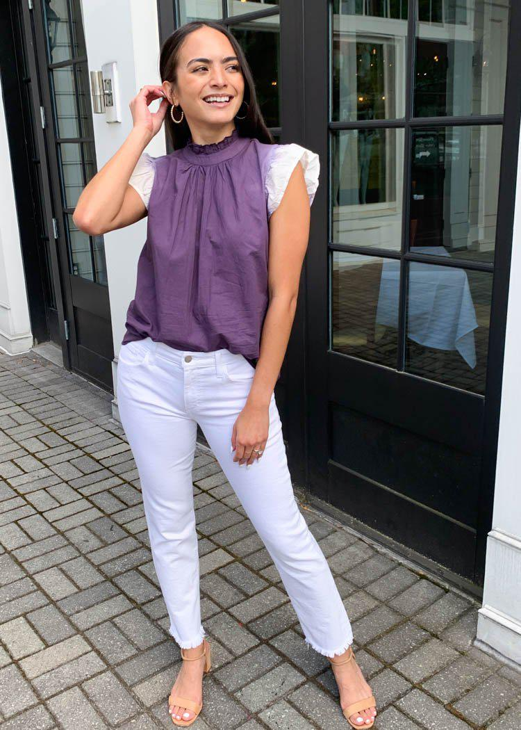 THML Ambergris Flutter Sleeve Top- Purple-Hand In Pocket