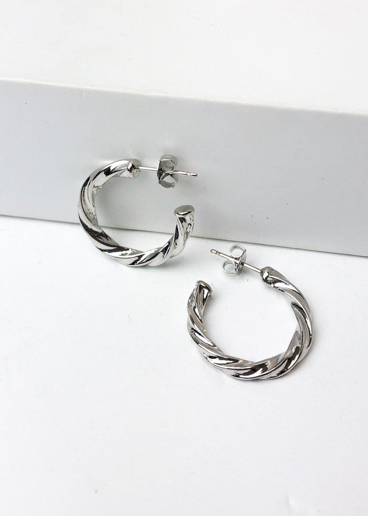 "Milan ""Mini"" Twisted Hoop Earrings-Silver-Hand In Pocket"