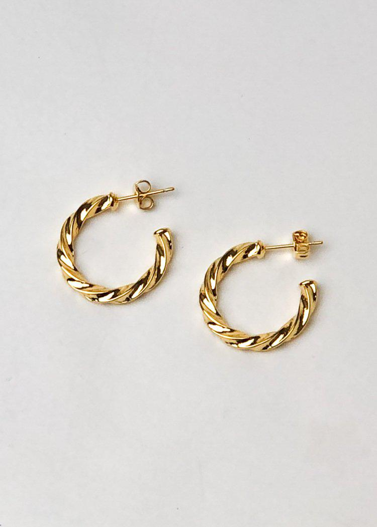 "Milan ""Mini"" Twisted Hoop Earrings-Hand In Pocket"