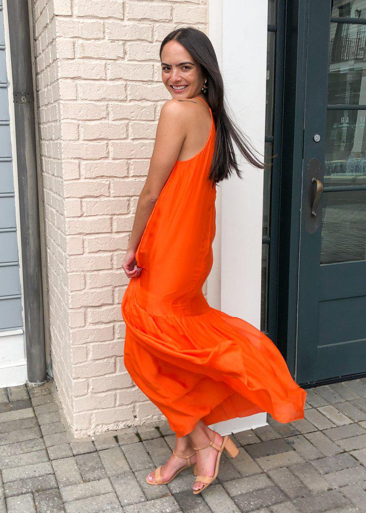 FRNCH Atika High Neck Halter Maxi Dress - Orange-Hand In Pocket