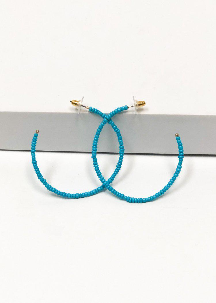 Tropicana Hoops-Turquoise-Hand In Pocket